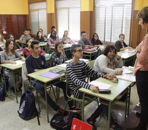 Imatge d'arxiu d'una classe d'institut a Lleida.