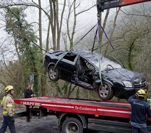 El coche de les víctimes va quedar en aquest estat.