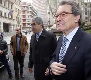 L'expresident de la Generalitat de Catalunya i líder del PDeCAT, Artur Mas, i el portaveu del partit al Congrés dels Diputats, Francesc Homs.