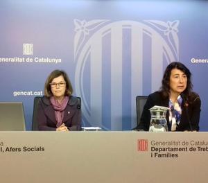 La directora general d'Igualtat, Mireia Mata, i la directora del Servei d'Ocupació de Catalunya (SOC), Mercè Garau.