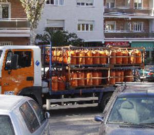 Camió de repartiment de gas butà en un barri madrileny.