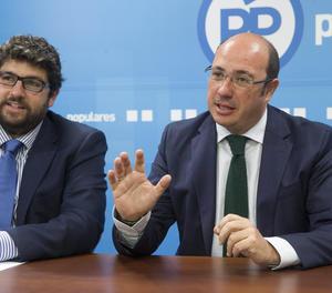 El secretari d'Organització del PP a Múrcia, Fernado López Miras, i Pedro Antonio Sánchez.
