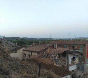 Un espectacular despreniment s'emporta diverses cases a Alcanyís