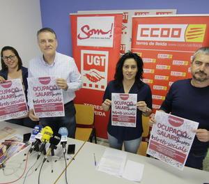 UGT i CCOO van exposar ahir els motius per manifestar-se el Primer de Maig.