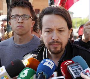 El líder de Podem, Pablo Iglesias, ahir a Madrid.