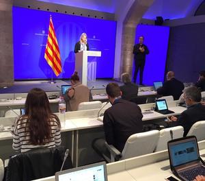 Un moment de la roda de premsa posterior a la reunió setmanal del Govern.