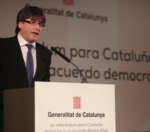 Puigdemont en un moment de la seua conferència a Madrid.