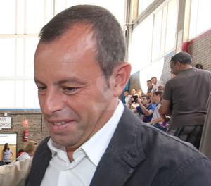 Sandro Rosell durant una visita a Lleida.