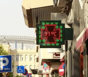 Un termòmetre a la ciutat de Lleida dimecres.