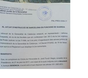 El Govern denuncia la Guàrdia Civil pels interrogatoris a alts càrrecs