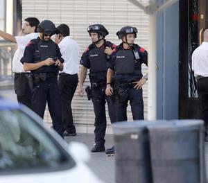 Un control dels Mossos d'Esquadra aquest dijous a Barcelona.