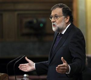 Mariano Rajoy durant la seua compareixença.