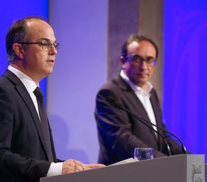 El conseller de Presidència i portaveu del Govern, Jordi Turull, a la roda de premsa posterior a la reunió de l'Executiu.