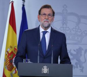 El president del Govern, Mariano Rajoy, durant la roda de premsa.