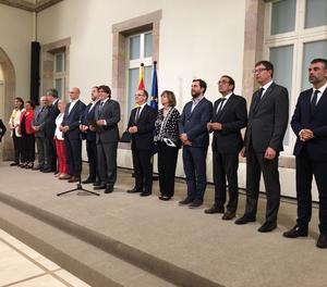 La roda de premsa que el Govern va fer dimecres a la nit després de convocar l'1-O.