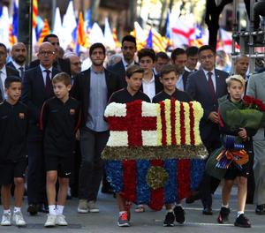 L'ofrena floral del FC Barcelona en motiu de la Diada.