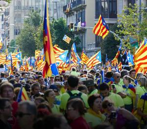 Una imatge de la manifestació sobiranista a Barcelona.