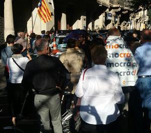 Concentració a la Gran Via de Barcelona.