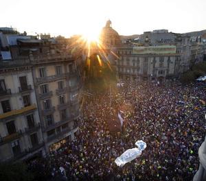 Una vista de la concentració a Barcelona