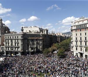 Vista de la concentració a Barcelona