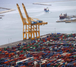 Una vista del port de Barcelona