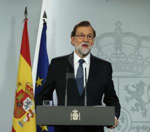 El president del Govern, Mariano Rajoy, durant la seua compareixença.