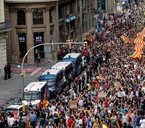Una de les manifestacions a Barcelona contra la repressió policial.