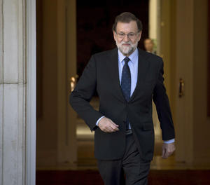 El president del Govern, Mariano Rajoy, durant l'entrevista a EFE.