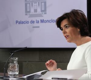 La vicepresidenta del Govern, Soraya Sáenz de Santamaría, a la roda de premsa posterior al Consell de Ministres.