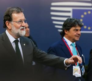 Rajoy a la seua arribada a la cimera europea.