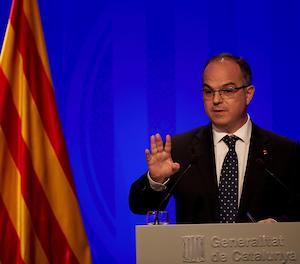 El conseller de Presidència i portaveu del Govern, Jordi Turull, durant la roda de premsa posterior a la reunió setmanal de l'Executiu.