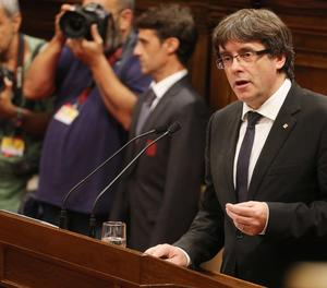 Imatge d'arxiu del president Puigdemont al Parlament