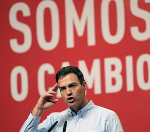 Pedro Sánchez, durant la clausura del XIII Congrés del PSdeG.