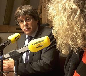 Puigdemont, aquest matí durant l'entrevista a Catalunya Ràdio des de Brussel·les.