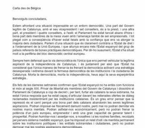 Carta de Puigdemont des de Brussel·les 1