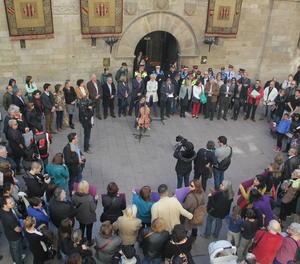 Una concentració contra la violència masclista a Lleida.