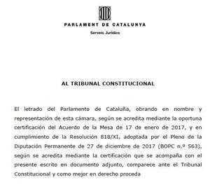El Parlament presenta un recurs contra el 155 davant del Constitucional