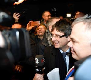 Puigdemont, a la seua arribada aquest dilluns a Copenhague.