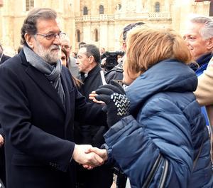 El president del Govern, Mariano Rajoy, durant la seua visita a Lleó.