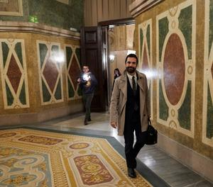 Roger Torrent arriba al Parlament aquest divendres.