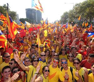 Manifestació multitudinària organitzada per l'ANC a Barcelona la Diada de Catalunya.