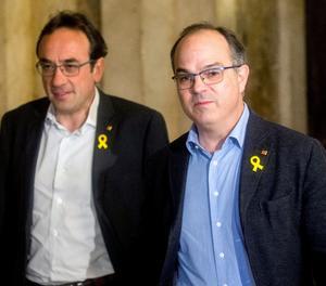 Els diputats de JxCat, Jordi Turull (dreta), y Josep Rull, arriben al Parlament de Catalunya.