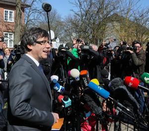 Carles Puigdemont al sortir de la presó preventiva a Alemanya.
