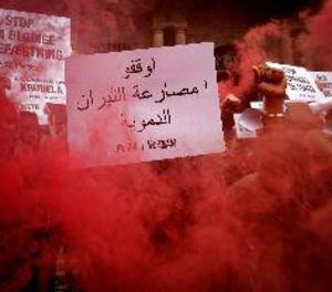 Aquesta és la protesta d'activistes antitaurins a les festes de San Fermín
