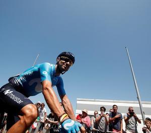 Alejandro Valverde, en un moment de l'etapa d'ahir.