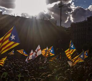 La plaça Catalunya de Barcelona durant la passada Diada.