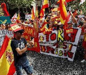 Manifestació a Barcelona per la unitat d'Espanya a dos dies de la Diada