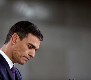 El president del Govern, Pedro Sánchez, en un moment de la seua compareixença