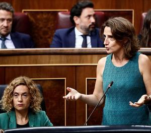 Les ministres d'Administració Terrritorial Meritxell Batet (esquerra) i la ministra per a la Transició Ecològica Teresa Ribera, durant la sessió de control a l'Executiu al Congrés dels Diputats.