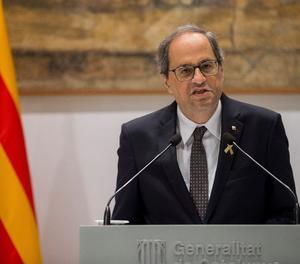 El president de la Generalitat, Quim Torra, en un moment de la seua compareixença.